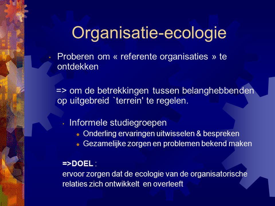 Organisatie-ecologie Proberen om « referente organisaties » te ontdekken => om de betrekkingen tussen belanghebbenden op uitgebreid `terrein' te regel