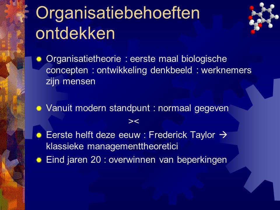 Organisatiebehoeften ontdekken  Organisatietheorie : eerste maal biologische concepten : ontwikkeling denkbeeld : werknemers zijn mensen  Vanuit mod