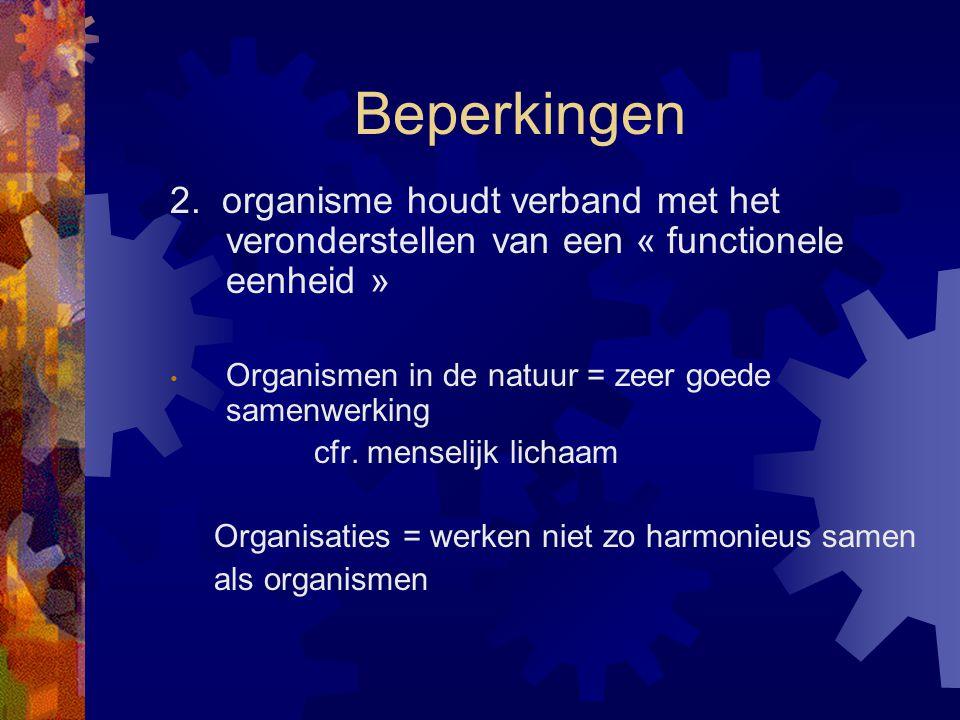 Beperkingen 2. organisme houdt verband met het veronderstellen van een « functionele eenheid » Organismen in de natuur = zeer goede samenwerking cfr.