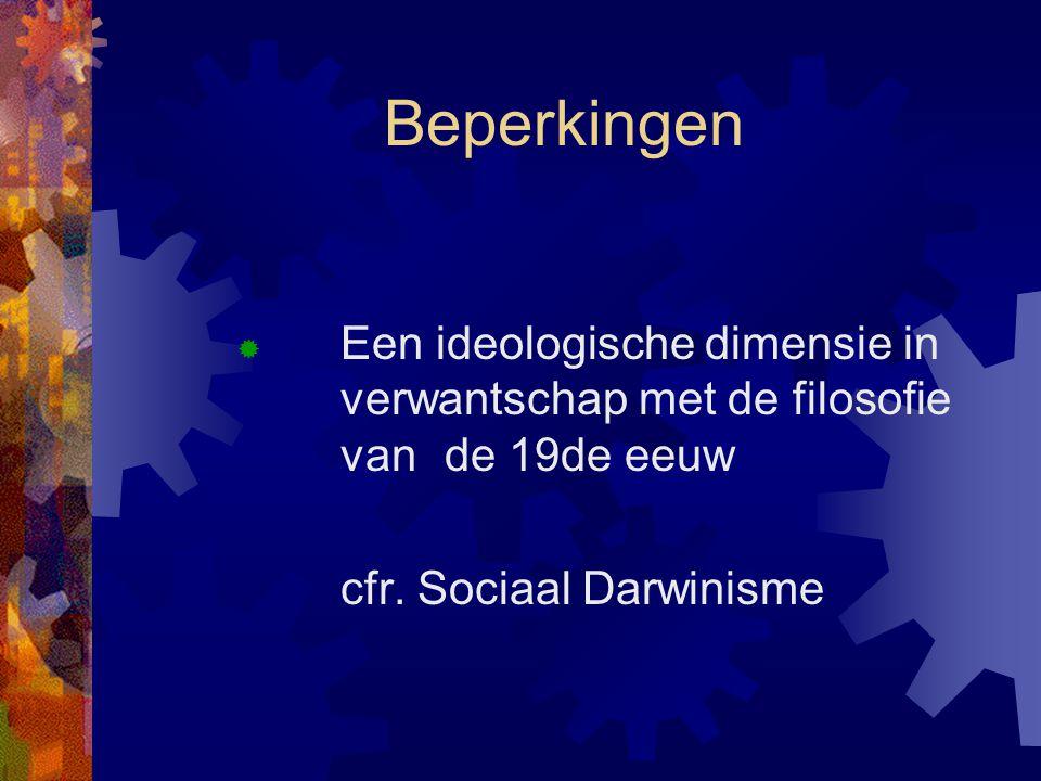 Beperkingen  Een ideologische dimensie in verwantschap met de filosofie van de 19de eeuw cfr. Sociaal Darwinisme