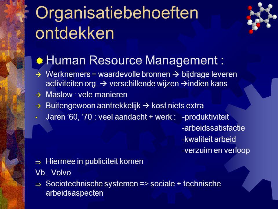 Organisatiebehoeften ontdekken  Human Resource Management :  Werknemers = waardevolle bronnen  bijdrage leveren activiteiten org.  verschillende w