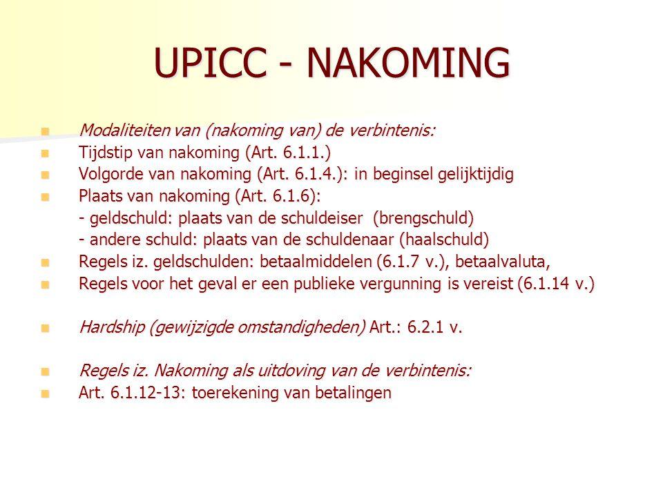 UPICC - NAKOMING Modaliteiten van (nakoming van) de verbintenis: Modaliteiten van (nakoming van) de verbintenis: (Art.