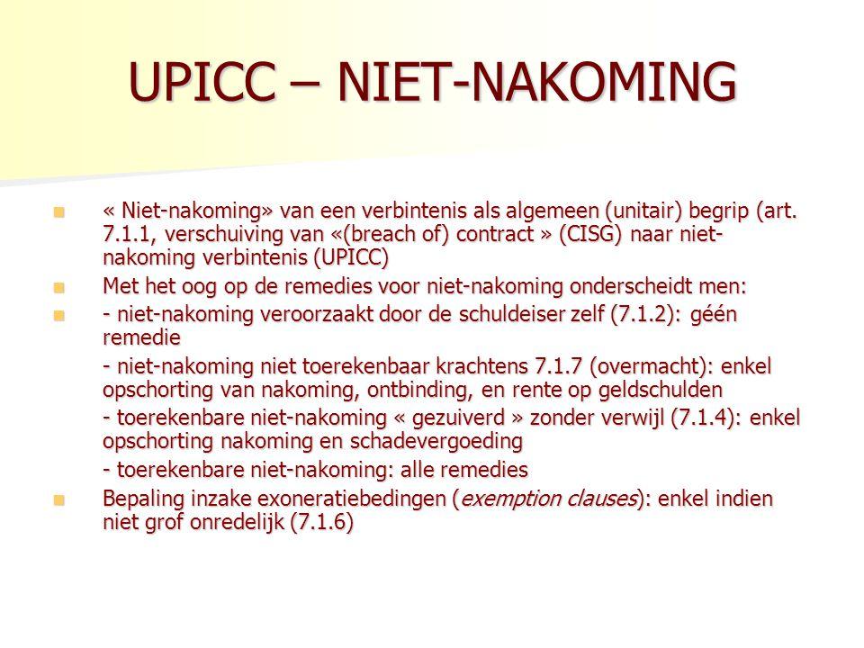UPICC – NIET-NAKOMING « Niet-nakoming» van een verbintenis als algemeen (unitair) begrip (art.