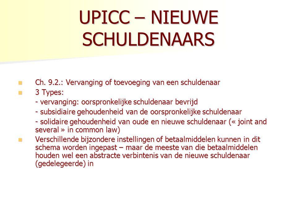 UPICC – NIEUWE SCHULDENAARS Ch.9.2.: Vervanging of toevoeging van een schuldenaar Ch.