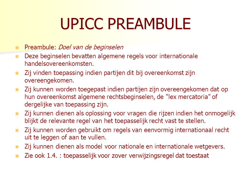 UPICC– DERDENBEDING Art.5.2.1. v. Overeenkomsten ten gunste van een derde (met o.a.