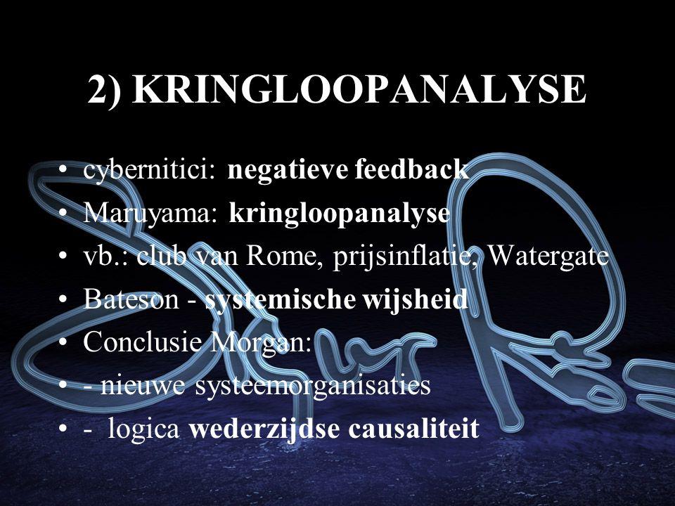 2) KRINGLOOPANALYSE cybernitici: negatieve feedback Maruyama: kringloopanalyse vb.: club van Rome, prijsinflatie, Watergate Bateson - systemische wijsheid Conclusie Morgan: - nieuwe systeemorganisaties - logica wederzijdse causaliteit