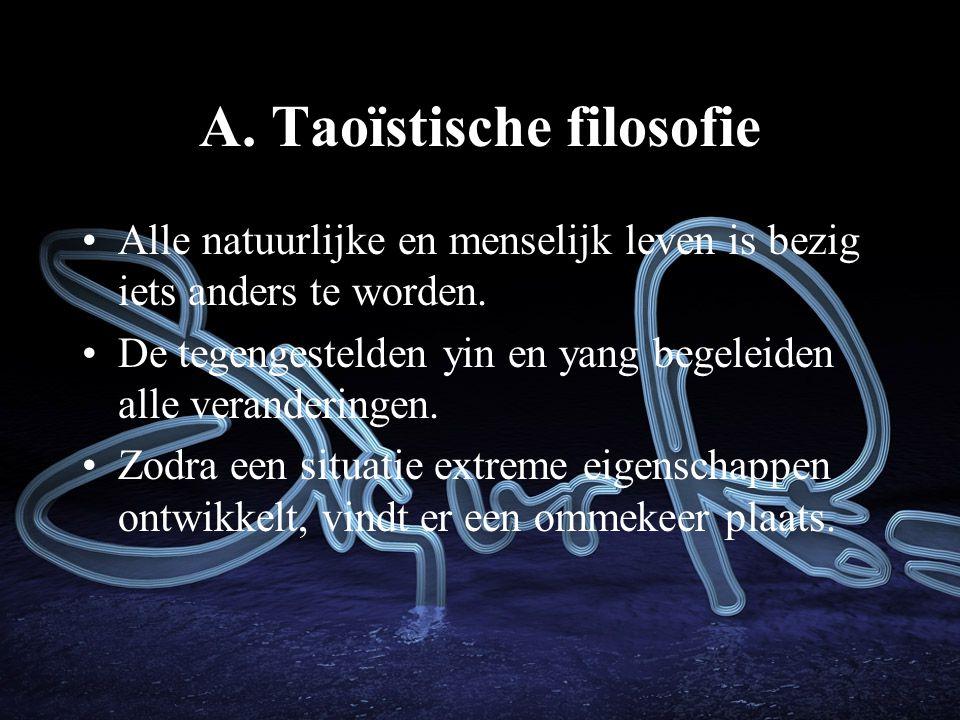 A.Taoïstische filosofie Alle natuurlijke en menselijk leven is bezig iets anders te worden.