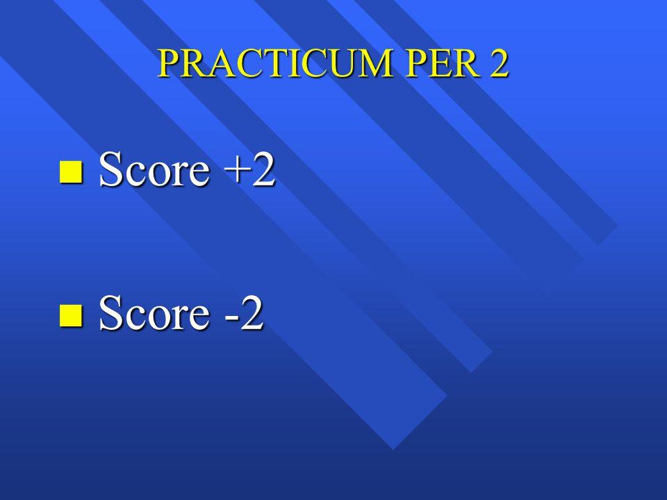 PRACTICUM PER 2 n Score +2 n Score -2
