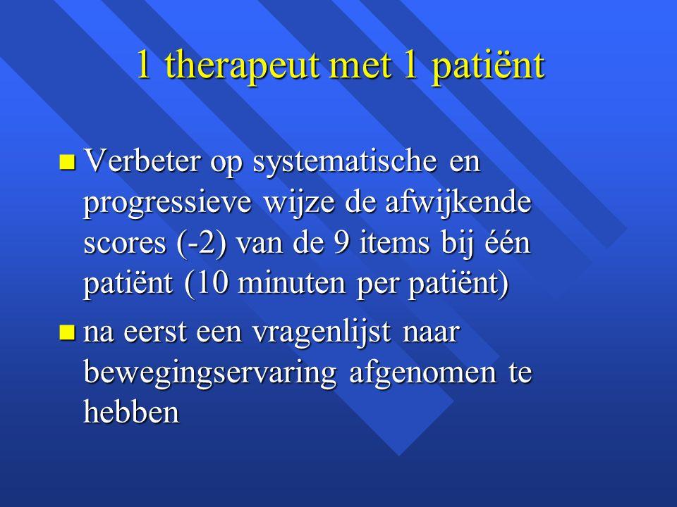 1 therapeut met 1 patiënt n Verbeter op systematische en progressieve wijze de afwijkende scores (-2) van de 9 items bij één patiënt (10 minuten per p