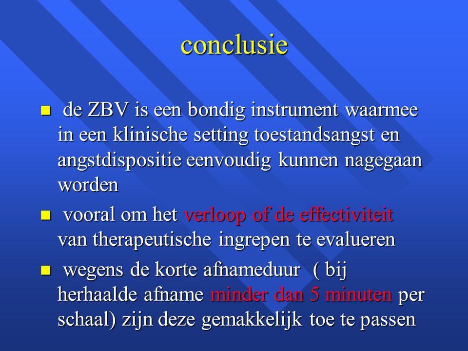 conclusie n de ZBV is een bondig instrument waarmee in een klinische setting toestandsangst en angstdispositie eenvoudig kunnen nagegaan worden n voor