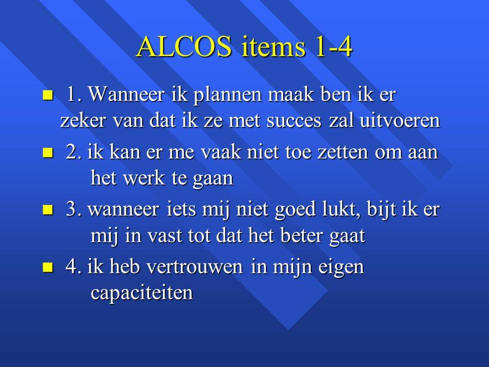 ALCOS items 1-4 n 1. Wanneer ik plannen maak ben ik er zeker van dat ik ze met succes zal uitvoeren n 2. ik kan er me vaak niet toe zetten om aan het