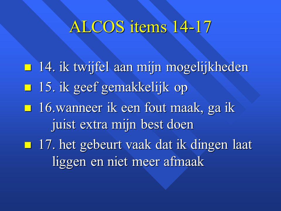 ALCOS items 14-17 n 14. ik twijfel aan mijn mogelijkheden n 15. ik geef gemakkelijk op n 16.wanneer ik een fout maak, ga ik juist extra mijn best doen