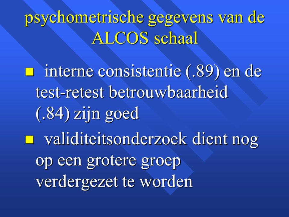 psychometrische gegevens van de ALCOS schaal n interne consistentie (.89) en de test-retest betrouwbaarheid (.84) zijn goed n validiteitsonderzoek die
