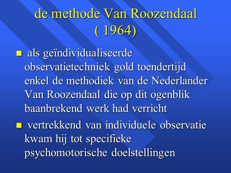 de methode Van Roozendaal ( 1964) n als geïndividualiseerde observatietechniek gold toendertijd enkel de methodiek van de Nederlander Van Roozendaal d