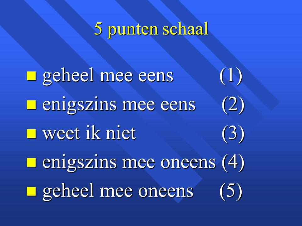 5 punten schaal n geheel mee eens (1) n enigszins mee eens (2) n weet ik niet (3) n enigszins mee oneens (4) n geheel mee oneens (5)