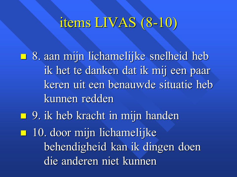 items LIVAS (8-10) n 8. aan mijn lichamelijke snelheid heb ik het te danken dat ik mij een paar keren uit een benauwde situatie heb kunnen redden n 9.