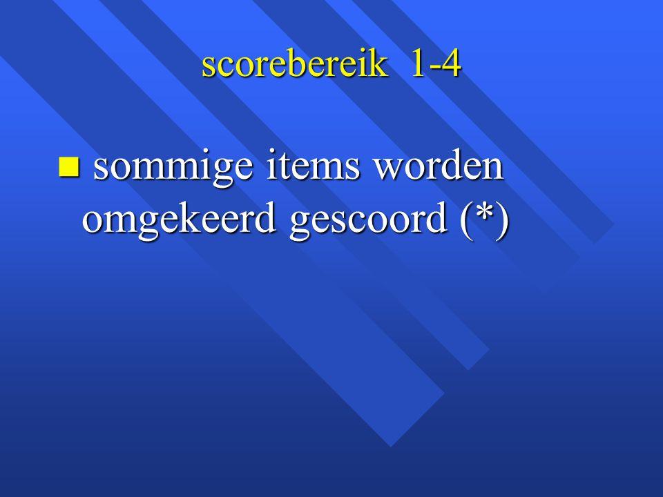 scorebereik 1-4 n sommige items worden omgekeerd gescoord (*)
