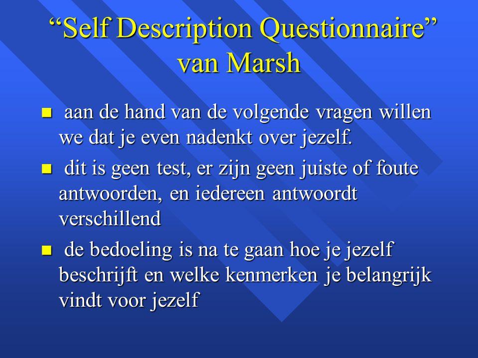 """""""Self Description Questionnaire"""" van Marsh """"Self Description Questionnaire"""" van Marsh n aan de hand van de volgende vragen willen we dat je even naden"""