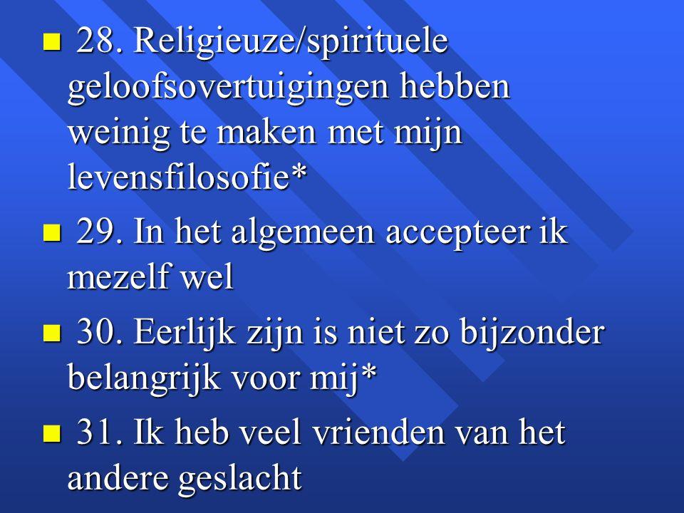 n 28. Religieuze/spirituele geloofsovertuigingen hebben weinig te maken met mijn levensfilosofie* n 29. In het algemeen accepteer ik mezelf wel n 30.