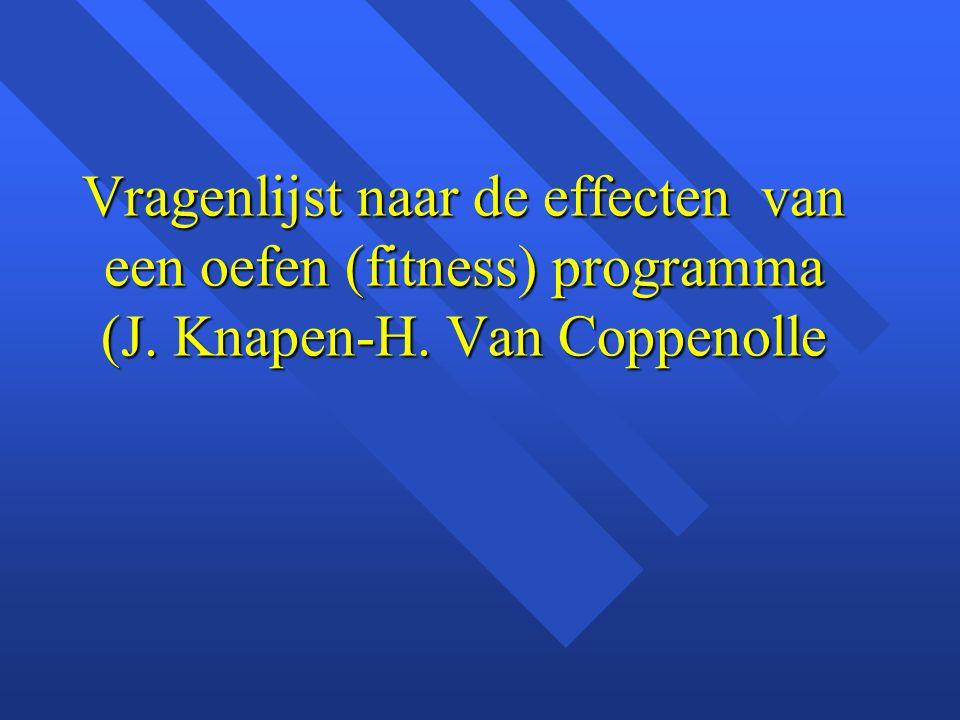 Vragenlijst naar de effecten van een oefen (fitness) programma (J. Knapen-H. Van Coppenolle