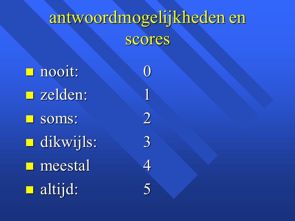 antwoordmogelijkheden en scores n nooit:0 n zelden:1 n soms:2 n dikwijls:3 n meestal4 n altijd:5