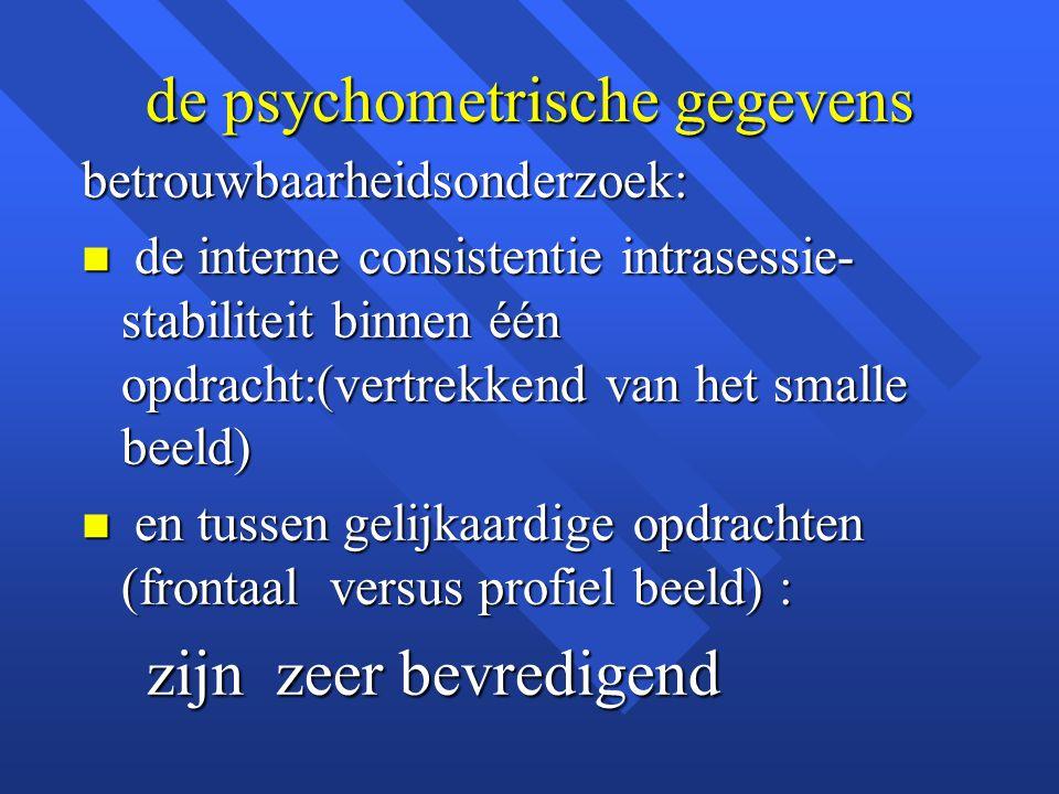de psychometrische gegevens betrouwbaarheidsonderzoek: n de interne consistentie intrasessie- stabiliteit binnen één opdracht:(vertrekkend van het sma