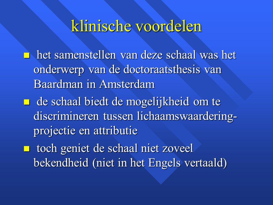 klinische voordelen n het samenstellen van deze schaal was het onderwerp van de doctoraatsthesis van Baardman in Amsterdam n de schaal biedt de mogeli