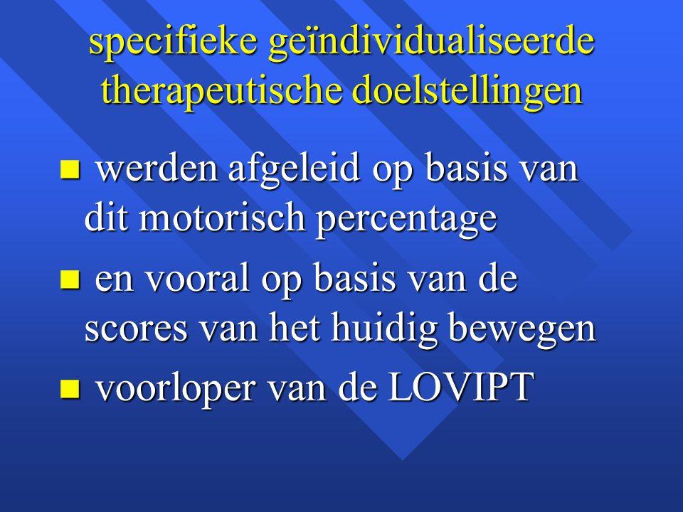 specifieke geïndividualiseerde therapeutische doelstellingen n werden afgeleid op basis van dit motorisch percentage n en vooral op basis van de score
