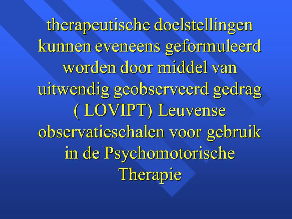 therapeutische doelstellingen kunnen eveneens geformuleerd worden door middel van uitwendig geobserveerd gedrag ( LOVIPT) Leuvense observatieschalen v