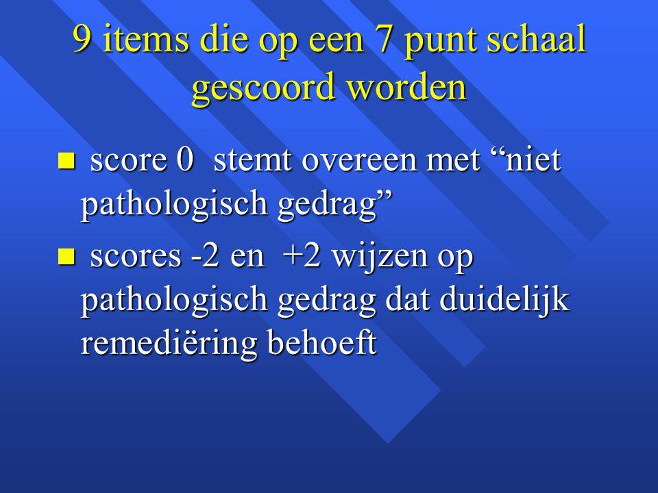 """9 items die op een 7 punt schaal gescoord worden n score 0 stemt overeen met """"niet pathologisch gedrag"""" n scores -2 en +2 wijzen op pathologisch gedra"""