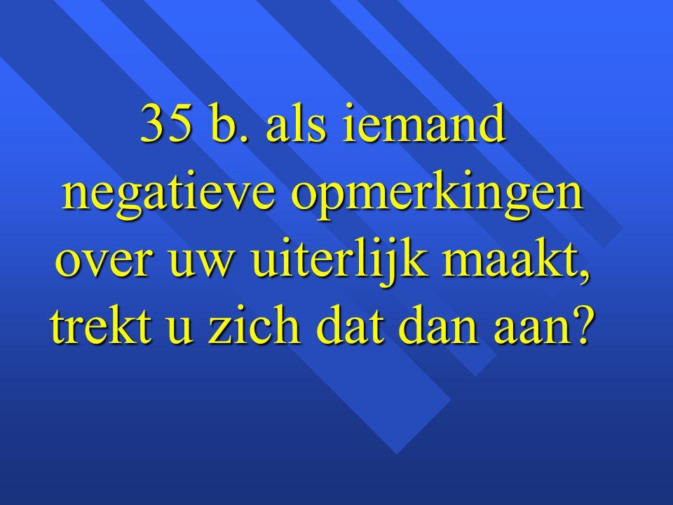 35 b. als iemand negatieve opmerkingen over uw uiterlijk maakt, trekt u zich dat dan aan?