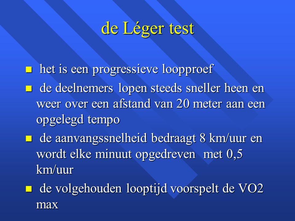 de Léger test n het is een progressieve loopproef n de deelnemers lopen steeds sneller heen en weer over een afstand van 20 meter aan een opgelegd tem