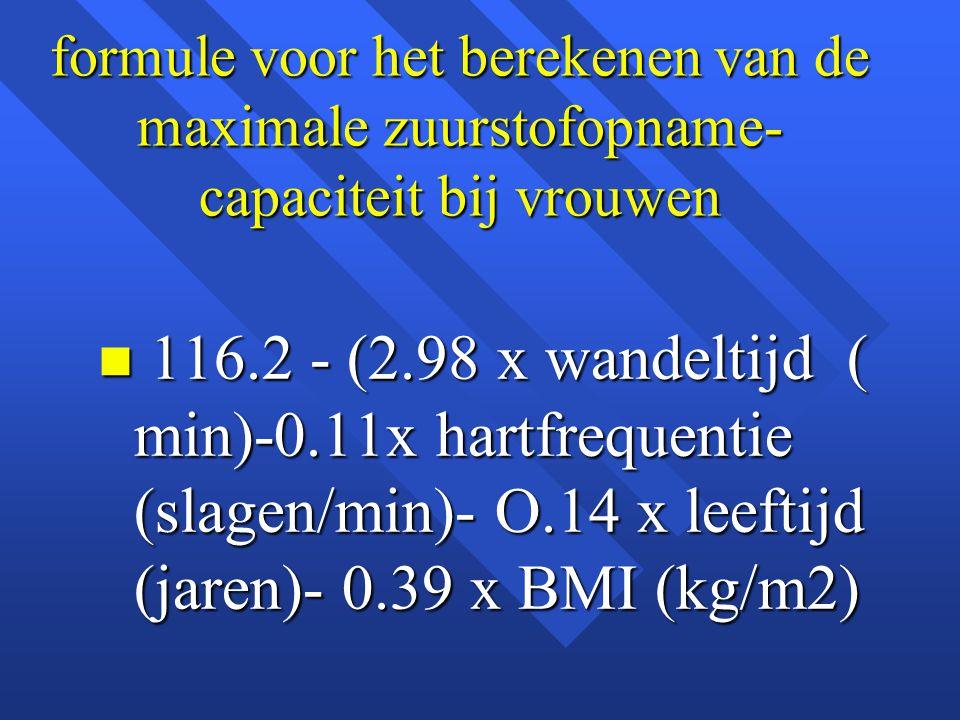 formule voor het berekenen van de maximale zuurstofopname- capaciteit bij vrouwen n 116.2 - (2.98 x wandeltijd ( min)-0.11x hartfrequentie (slagen/min