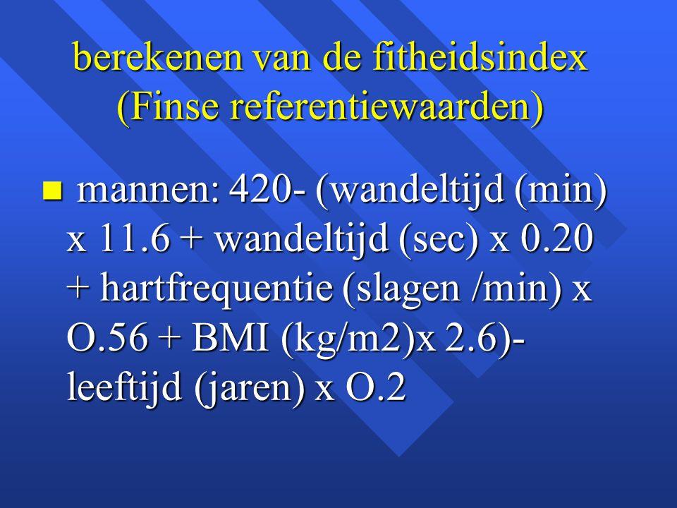 berekenen van de fitheidsindex (Finse referentiewaarden) n mannen: 420- (wandeltijd (min) x 11.6 + wandeltijd (sec) x 0.20 + hartfrequentie (slagen /m