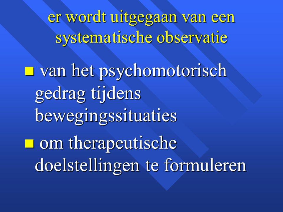 er wordt uitgegaan van een systematische observatie n van het psychomotorisch gedrag tijdens bewegingssituaties n om therapeutische doelstellingen te