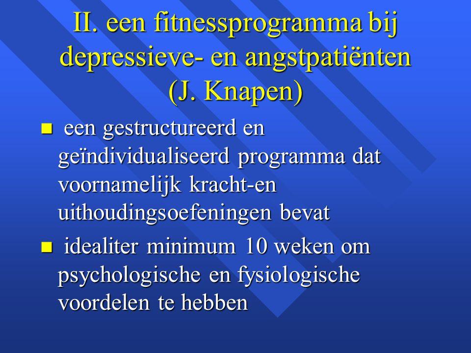II. een fitnessprogramma bij depressieve- en angstpatiënten (J. Knapen) n een gestructureerd en geïndividualiseerd programma dat voornamelijk kracht-e
