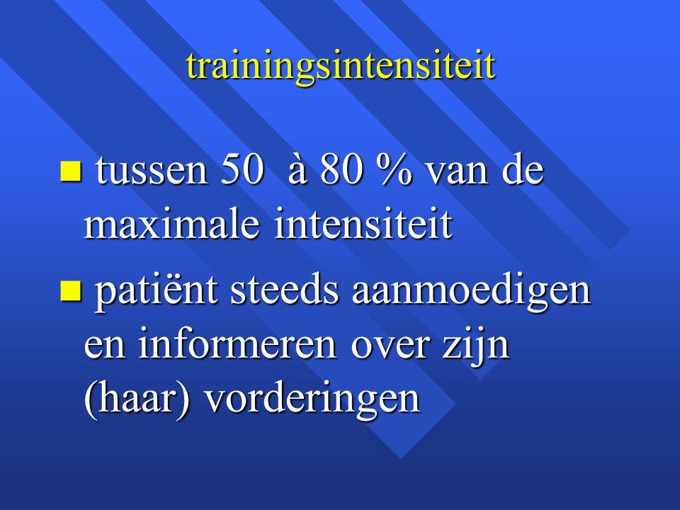 trainingsintensiteit n tussen 50 à 80 % van de maximale intensiteit n patiënt steeds aanmoedigen en informeren over zijn (haar) vorderingen