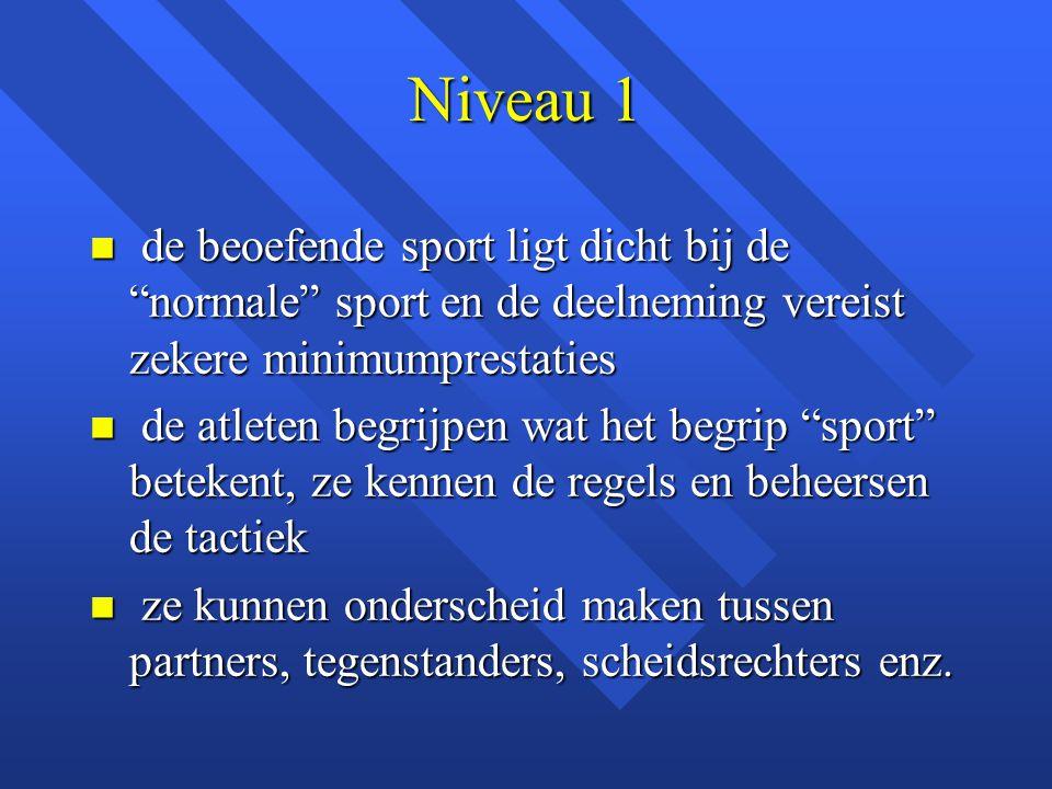 """n de beoefende sport ligt dicht bij de """"normale"""" sport en de deelneming vereist zekere minimumprestaties n de atleten begrijpen wat het begrip """"sport"""""""