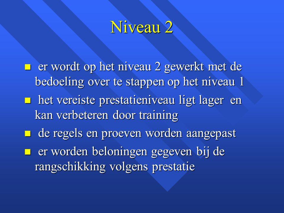 Niveau 2 n er wordt op het niveau 2 gewerkt met de bedoeling over te stappen op het niveau 1 n het vereiste prestatieniveau ligt lager en kan verbeter