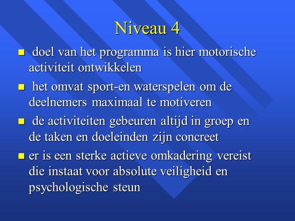 Niveau 4 n doel van het programma is hier motorische activiteit ontwikkelen n het omvat sport-en waterspelen om de deelnemers maximaal te motiveren n