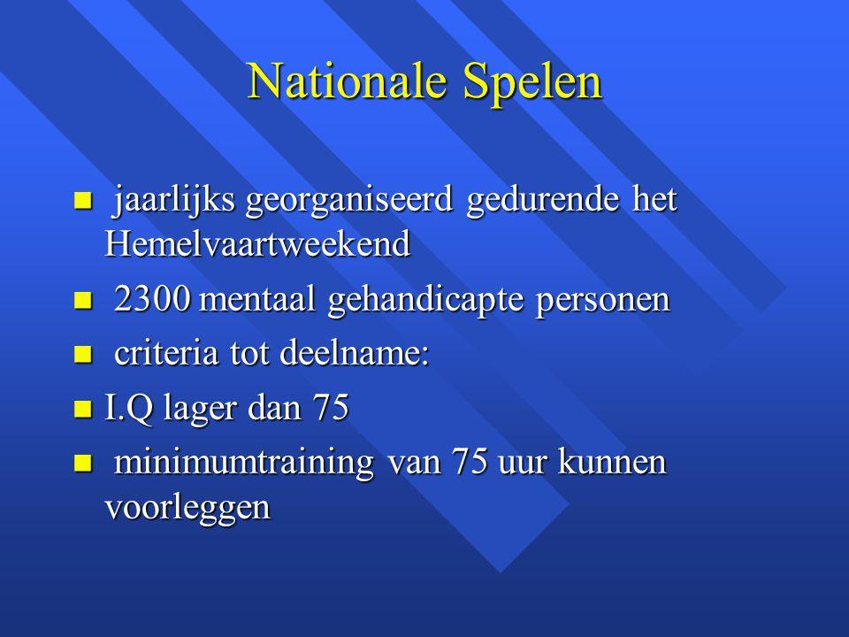 Nationale Spelen n jaarlijks georganiseerd gedurende het Hemelvaartweekend n 2300 mentaal gehandicapte personen n criteria tot deelname: n I.Q lager d
