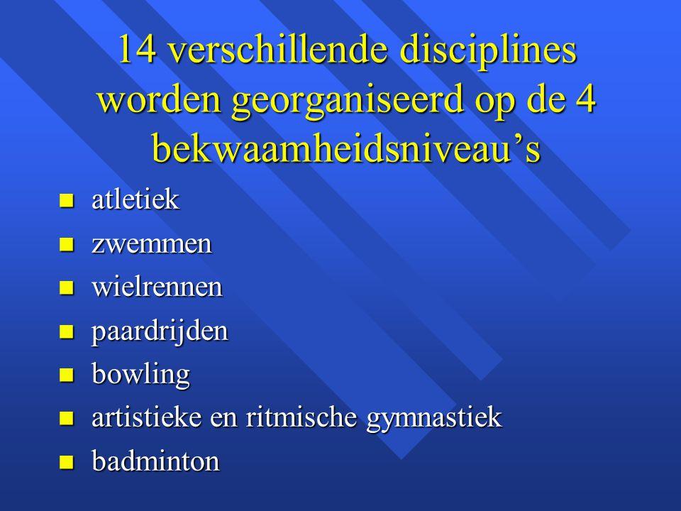 14 verschillende disciplines worden georganiseerd op de 4 bekwaamheidsniveau's n atletiek n zwemmen n wielrennen n paardrijden n bowling n artistieke