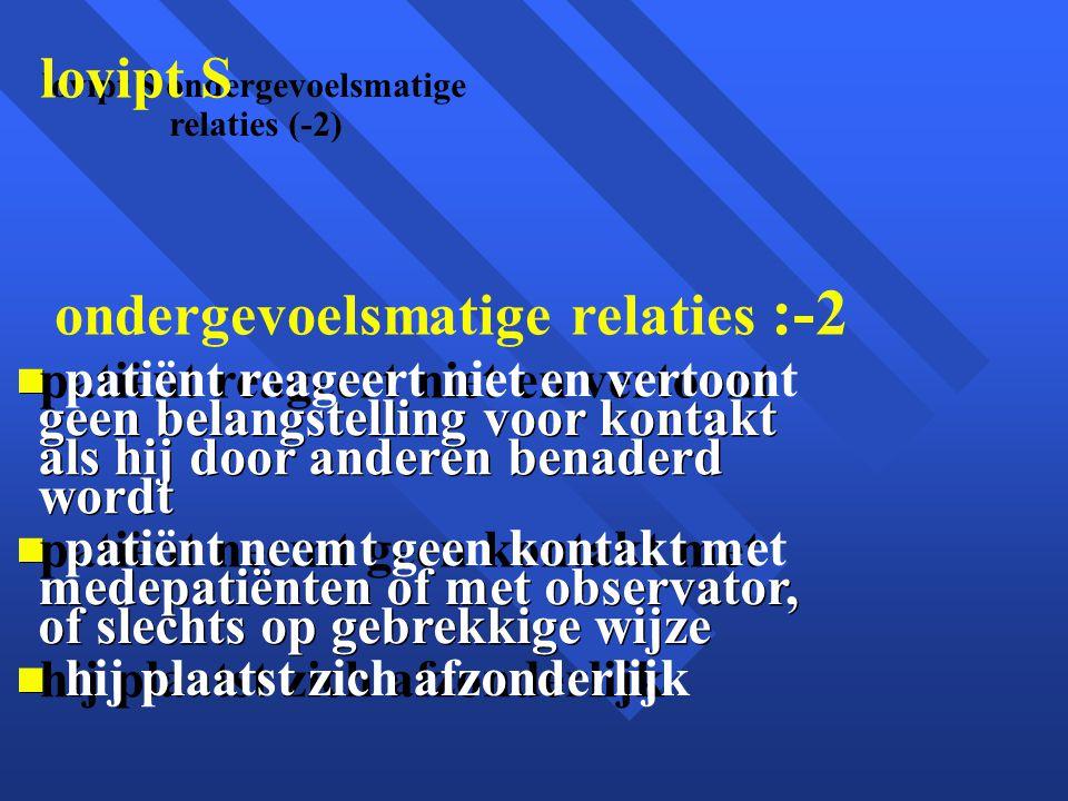 lovipt S ondergevoelsmatige lovipt S ondergevoelsmatige relaties :-2 relaties (-2) patiënt reageert niet en vertoont geen belangstelling voor kontakt