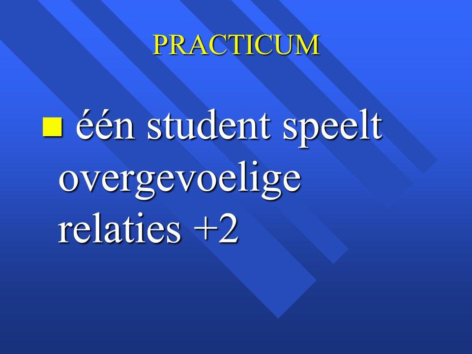PRACTICUM n één student speelt overgevoelige relaties +2