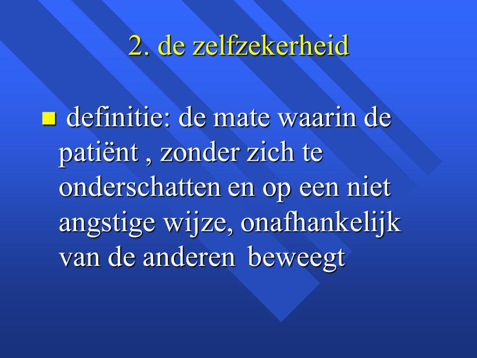 2. de zelfzekerheid n definitie: de mate waarin de patiënt, zonder zich te onderschatten en op een niet angstige wijze, onafhankelijk van de anderen b