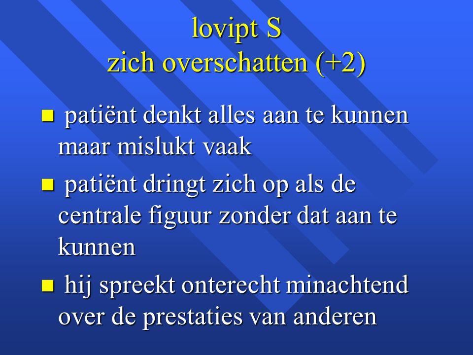 lovipt S zich overschatten (+2) n patiënt denkt alles aan te kunnen maar mislukt vaak n patiënt dringt zich op als de centrale figuur zonder dat aan t