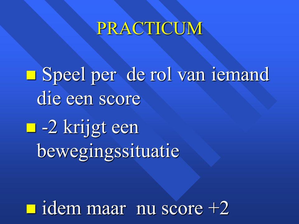 PRACTICUM n Speel per de rol van iemand die een score n -2 krijgt een bewegingssituatie n idem maar nu score +2