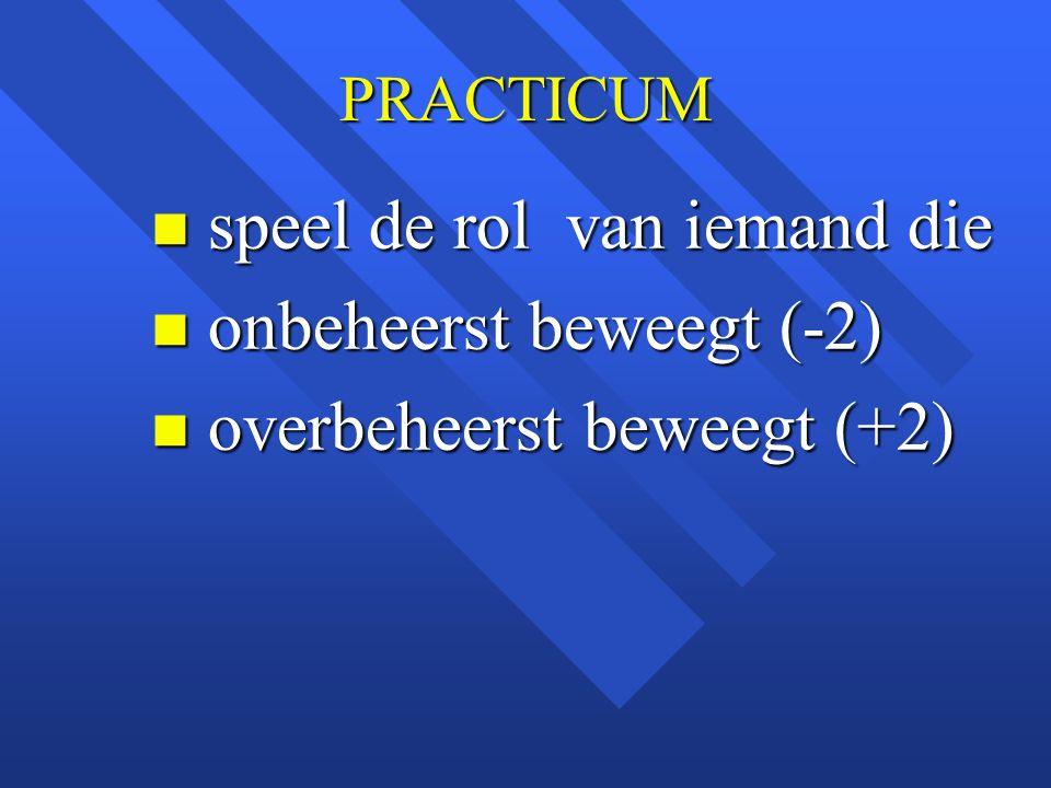 PRACTICUM n speel de rol van iemand die n onbeheerst beweegt (-2) n overbeheerst beweegt (+2)