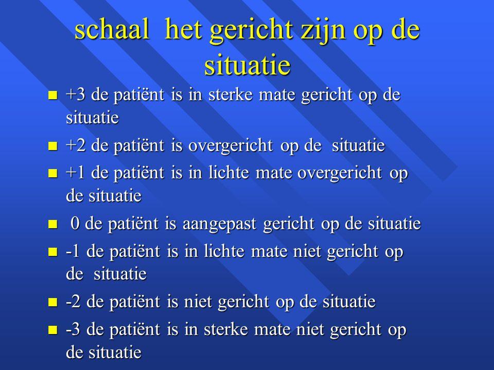 schaal het gericht zijn op de situatie n +3 de patiënt is in sterke mate gericht op de situatie n +2 de patiënt is overgericht op de situatie n +1 de