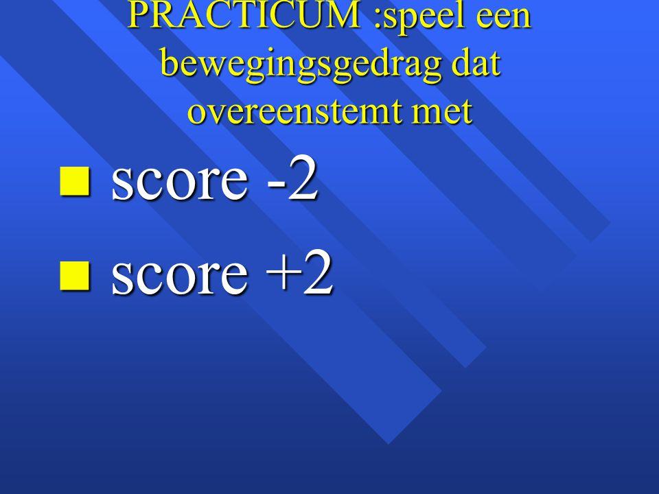 PRACTICUM :speel een bewegingsgedrag dat overeenstemt met n score -2 n score +2